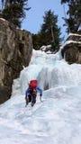 Solo livre do montanhista de gelo que escala uma queda de gelo nos cumes suíços Imagens de Stock Royalty Free