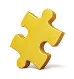 Solo pedazo amarillo del rompecabezas aislado Imágenes de archivo libres de regalías