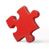 Solo pedazo rojo del rompecabezas aislado Foto de archivo libre de regalías