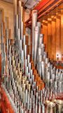 Solo Pipes. Inside the solo pipe chamber of the Mighty Wurlitzer organ of the Opera House, Blackpool Stock Photos