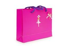 Solo rectángulo de regalo rosado en el fondo blanco. Imagen de archivo