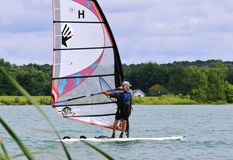 Solo rider Windsurfing Royalty Free Stock Photos