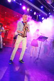 Solo saxophone. Young geniuses of jazz at the club Olympia. Stock Photography