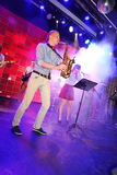 Solo saxophone. Young geniuses of jazz at the club Olympia. Royalty Free Stock Image