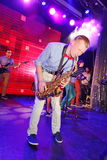 Solo saxophone. Young geniuses of jazz at the club Olympia. Royalty Free Stock Photography