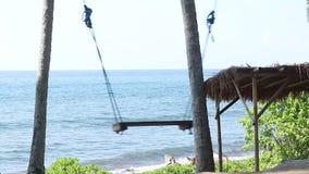 Solo svuoti l'oscillazione sui precedenti della natura Isola tropicale Bali, Indonesia Vicino alla spiaggia con la sabbia nera st stock footage