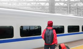 Solo travelling , middle aged female tourist travel with high-speed train. Solo travelling , middle aged asian female tourist travel with high-speed train royalty free stock photos