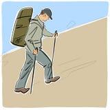 Solo turista con caminar los palillos y las subidas de la mochila cuesta arriba stock de ilustración