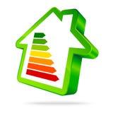 Solo verde de las barras de la energía siete del icono de la casa verde ilustración del vector