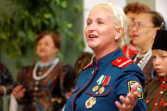 The soloist of folk, Cossack, arctic army singing chorus Royalty Free Stock Photo