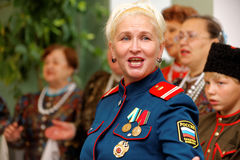 The soloist of folk, Cossack, arctic army singing chorus royalty free stock images