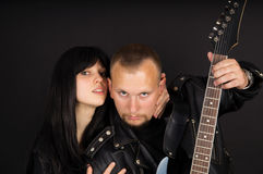 Soloist and guitarist with his guitar Royalty Free Stock Image