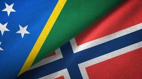 Solomon Island en Noorwegen twee vlaggen textieldoek, stoffentextuur stock illustratie