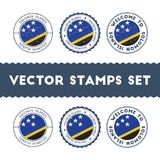 Solomon Islander flag rubber stamps set. National flags grunge stamps. Country round badges collection Stock Photography