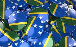 Solomon Islands Badges Background - Stapel von Solomon Flag Buttons Stockbild
