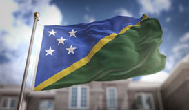 Solomon Islands Flag 3D Rendering on Blue Sky Building Backgroun Stock Image