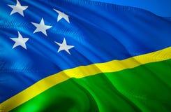 Solomon islands flag. 3D Waving flag design. The national symbol of Solomon islands, 3D rendering. Solomon islands 3D Waving sign. Design. Waving sign royalty free stock photography