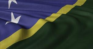 Solomon Islands flag fluttering in light breeze. 3D illustration of Solomon Islands flag fluttering in light breeze Stock Images