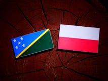 Solomon Islands flag with Polish flag on a tree stump isolated. Solomon Islands flag with Polish flag on a tree stump vector illustration