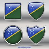 Solomon Islands Flag in 4 shapes collection with clipping path Royalty Free Stock Photo