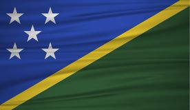 Solomon Islands flag vector. Vector flag of Solomon Islands blowig in the wind. EPS 10 Royalty Free Stock Photo