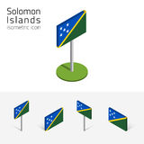 Solomon Islands flag, vector 3D isometric flat icons. Flag of Solomon Islands, vector set of isometric flat icons, 3D style, different views. 100% editable Stock Photos