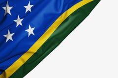 Solomon Islands flagga av tyg med copyspace för din text på vit bakgrund royaltyfri illustrationer