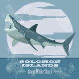 Solomon islands. Great white shark.  Retro styled image. Royalty Free Stock Image