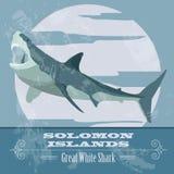Solomon islands. Great white shark.  Retro styled image. Royalty Free Stock Image