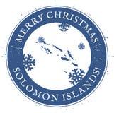Solomon Islands-kaart Uitstekende Vrolijke Kerstmis royalty-vrije illustratie