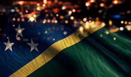 Solomon Islands National Flag Light Night Bokeh Abstract Background Royalty Free Stock Images