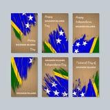 Solomon Islands Patriotic Cards para el día nacional stock de ilustración