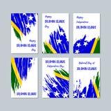 Solomon Islands Patriotic Cards para o dia nacional ilustração do vetor