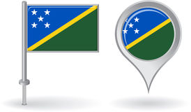 Solomon Islands pin icon and map pointer flag Stock Image