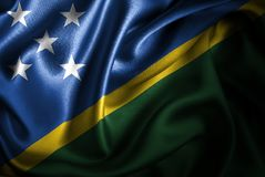 Solomon Islands Silk Satin Flag ilustración del vector