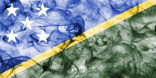 Solomon Islands smoke flag isolated on a white background. Solomon Islands smoke flag isolated on a white background Stock Photography