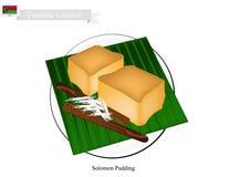 Solomon Pudding en traditionell efterrätt av Vanuatu vektor illustrationer