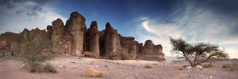 The Solomon's Pillars. Solomon's Pillars at the Timna Park Israel is one the most exciting geological features in Timna Valley Park. this is a panorama view of Royalty Free Stock Photos