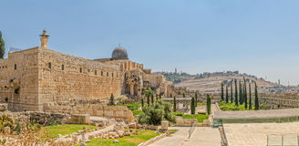 Solomon's temple and Al-Aqsa Mosque minaret Jerusalem Stock Photos