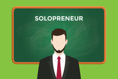Solopreneur illustration with a man wearing a black suit in front of green chalk board and white text Stock Photo