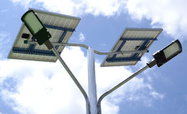 SOLOR POWER LAMP. Close up image of a solar powered street lamp Stock Photography