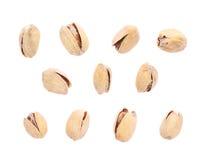 Solos pistachos múltiples aislados Fotos de archivo