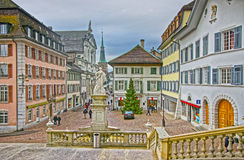 Solothurn Street view from St Ursus Cathedral to Clock Tower Royalty Free Stock Photography