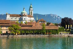 Buildings of the historic part of the city of Solothurn along the Aare river. Solothurn, Switzerland - July 10, 2016: buildings of the historic part of the city royalty free stock photo