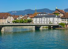 Buildings of the historic part of the city of Solothurn and the Aare river. Solothurn, Switzerland - July 10, 2016: buildings of the historic part of the city of stock images