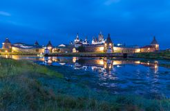 Solovetsky Kremlin at night with reflection Royalty Free Stock Photo