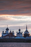 Solovetsky Monastery. View on Solovetsky Monastery with Holy Lake on sunset stock image