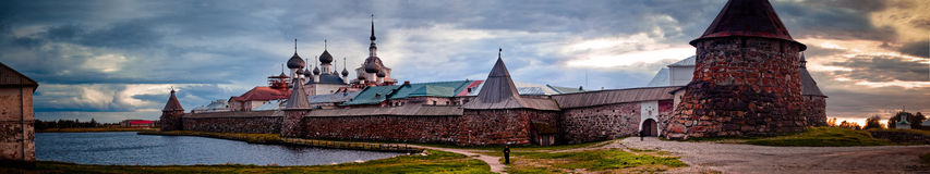 Solovetsky Monastery. Panoramic view on Solovetsky Monastery and Holy Lake in the evening. Russia stock photography