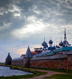 Solovetsky Monastery. Panoramic view on Solovetsky Monastery and Holy Lake in the evening. Russia stock photos