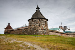 Solovetsky monastery with Korozhnaya tower foreground Royalty Free Stock Images